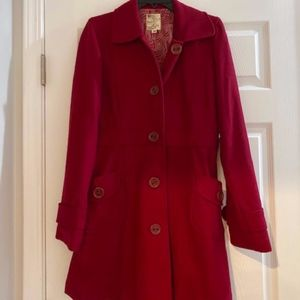 Red Tulle Wool Blend Peacoat